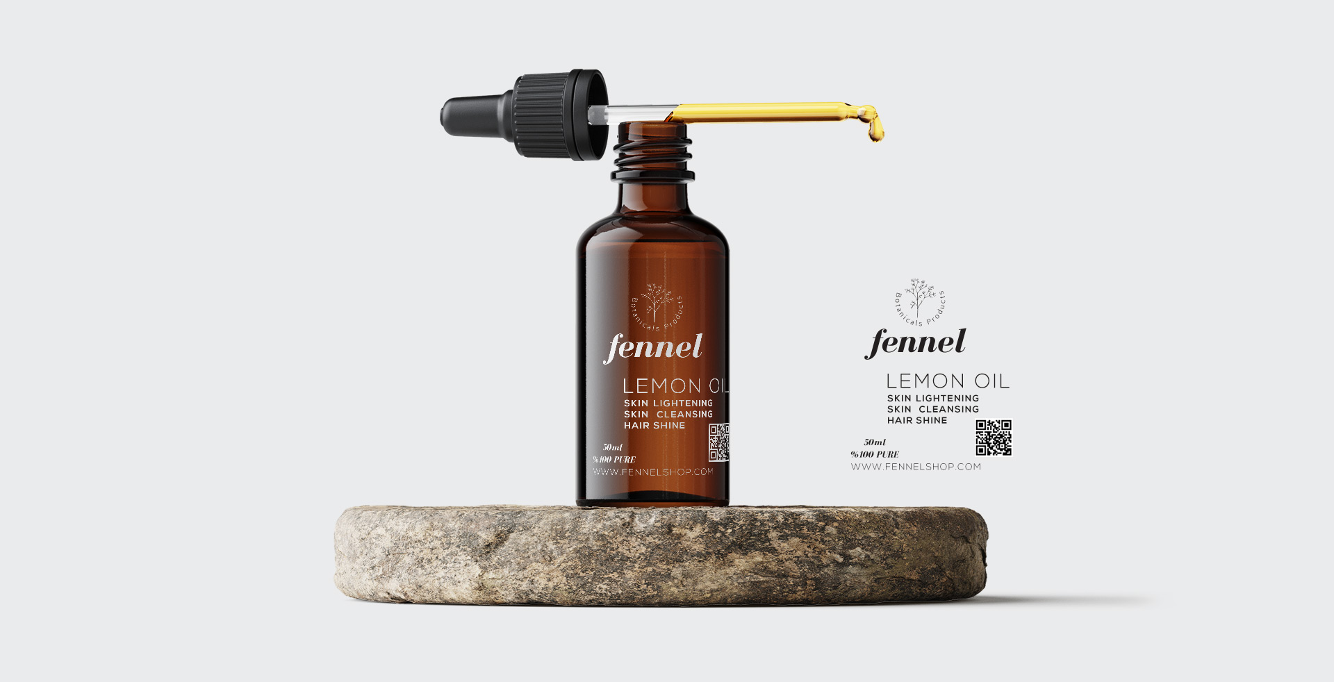 fennel logo design lemon oil dropper bottle by vazirstudio.com